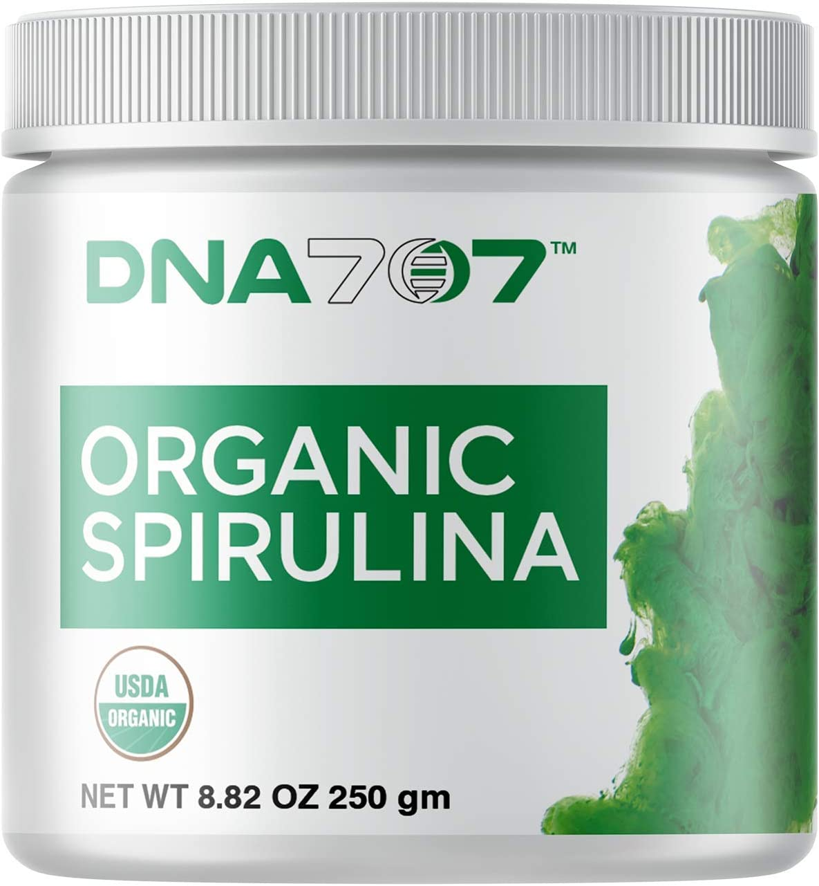 DNA707 Organic Spirulina Powder – 83 Servings 8.82 oz 250g Organically Grown and Sustainably Harvested Non-GMO Blue Green Algae, Raw, 100 Vegetarian Vegan, Non-Irradiated 250 g Spirulina