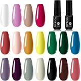 TOMICCA Gel Nail Polish Set 18 Pure Colors Gel Polish Kit UV LED Gel Polish Nude Color Nail Art Manicure Kit