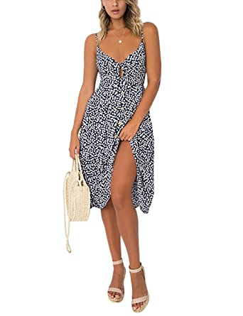 3bad05862457 Amazon.com: Exlura Womens Dresses Summer Tie Front Spaghetti Strap V-Neck A-Line  Backless Swing Midi Dress: Clothing