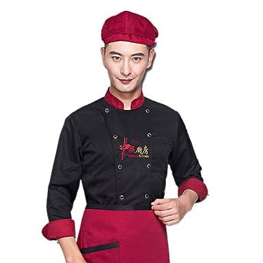 1c545de94 XINFU Chinese Chef's Uniform Long Sleeve Restaurant Kitchen Men and Women's Hotel  Uniform Chef Coat