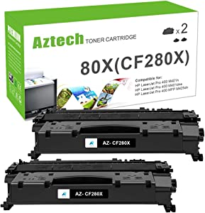 Aztech Compatible Toner Cartridge Replacement for HP 80X CF280X 80A CF280A Laserjet Pro 400 M401A M401D M401N M401DNE MFP M425DN (Black, 2-Packs)
