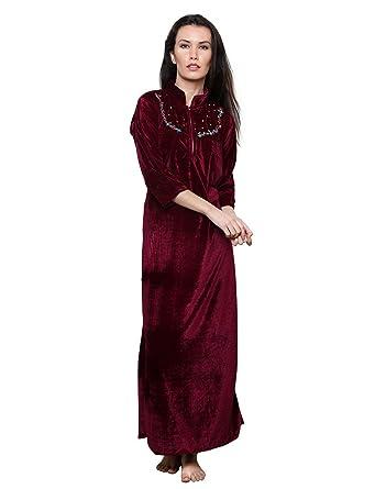 5ea40a8089 Grand Bear Women s Velvet Embroidered Night Wear Dress  Nighty (Wine ...