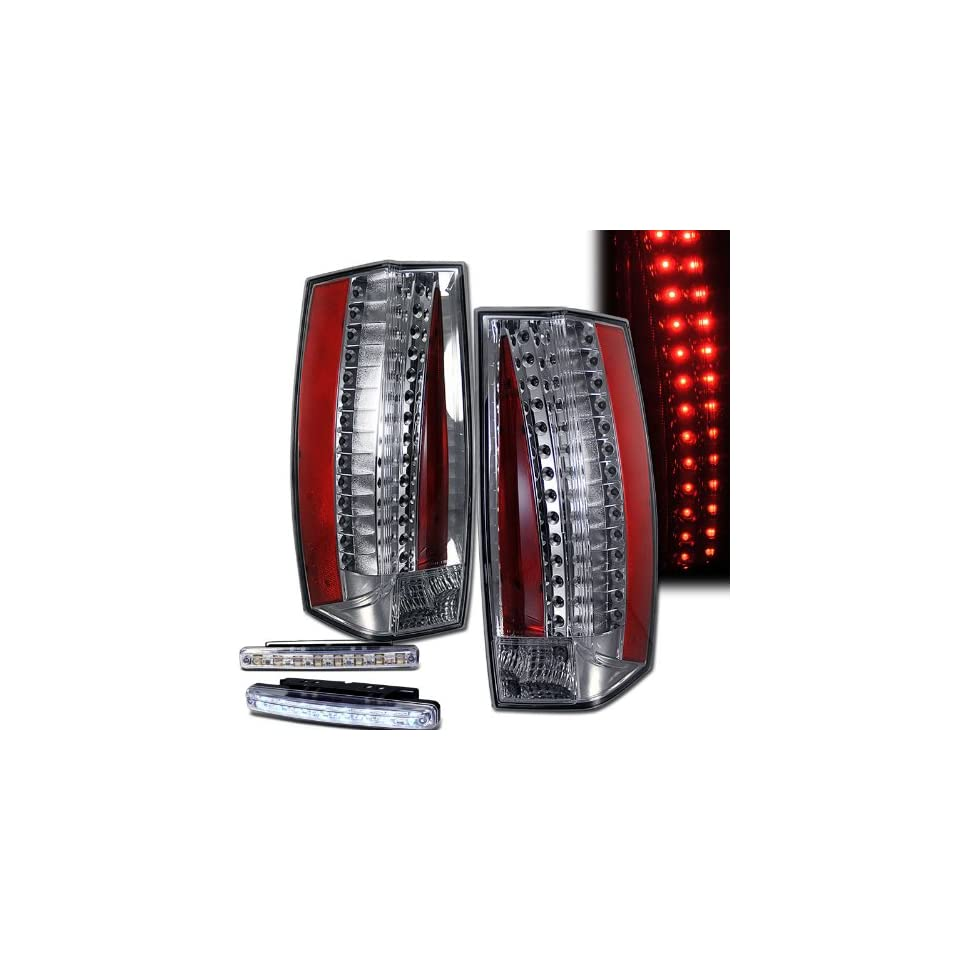 2007 2011 Cadillac Escalade Rear Brake Tail Lights Chrome+led Bumper Running (Not Fit Ext)