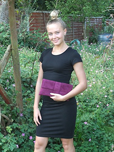 Prom Raspberry Clutch Bag Shoulder Loni Occasion Bag Wedding Faux Womens Party Plum Bag Elegant Pink Suede rOWPw0qPI