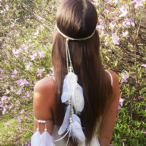 A&C Indian White Peacock Feather Headband and Headpiece for Women, Fashion Head Chain and Headpiece for Girls