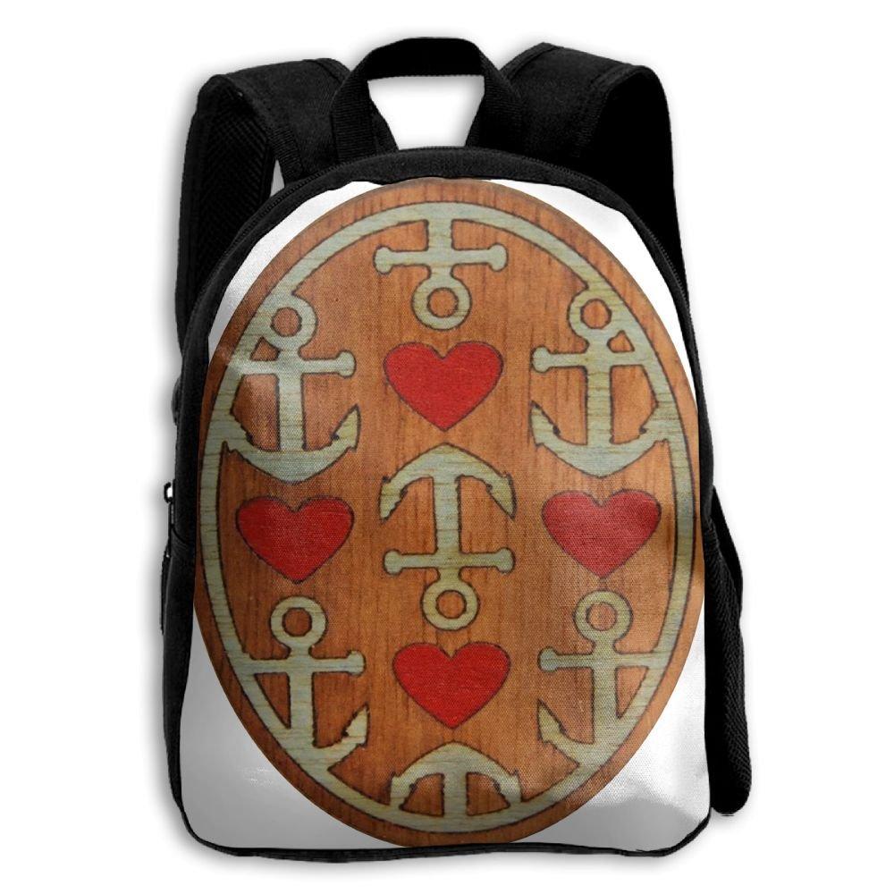 fidaljf木製海アンカーハート子供の3dプリントファスナー付き旅行バッグ学校バックパック B07DN7KNH3