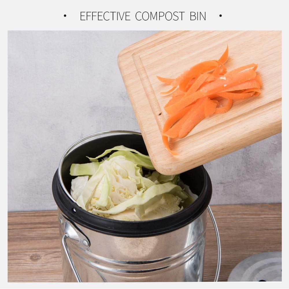 GXHGRASS Contenedor de Compost de Cocina 3L Melones Hojas Casera Bote de Basura org/ánico Encimera al Aire Libre Filtro de carb/ón de le/ña Negro Cubo Doble