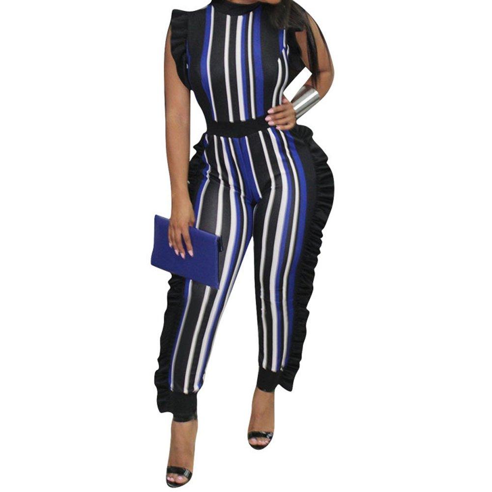 Uni Clau Women's Sleeveless Stripe Ruffle Bodycon Long Pants High Waist Party Jumpsuits Romper Plus Size Blue 2X-Large