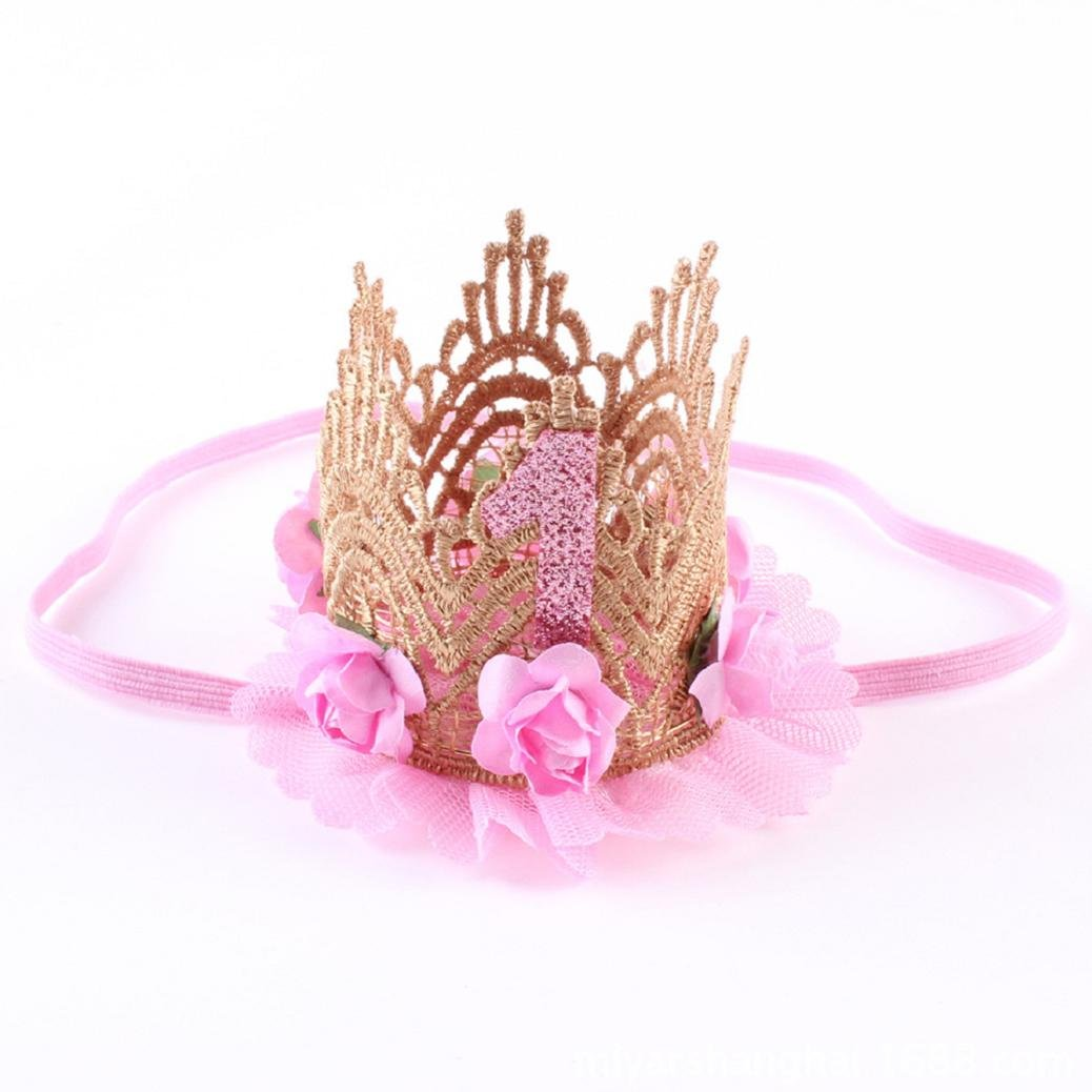 Baost Beautiful Baby Crown Headband Princess First Birthday Cone Hat Sparkle