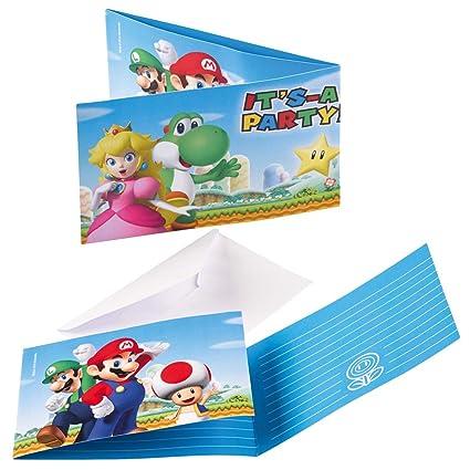 NET TOYS 8 Tarjetas de invitación con Sobres Super Mario ...