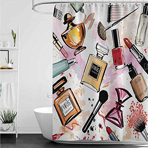 home1love Waterproof Bathtub Curtain,Girls Cosmetic and Makeup Theme Pattern with Perfume Lipstick Nail Polish Brush Modern Lady,Shower Curtain bar,W72x72L,Multicolor