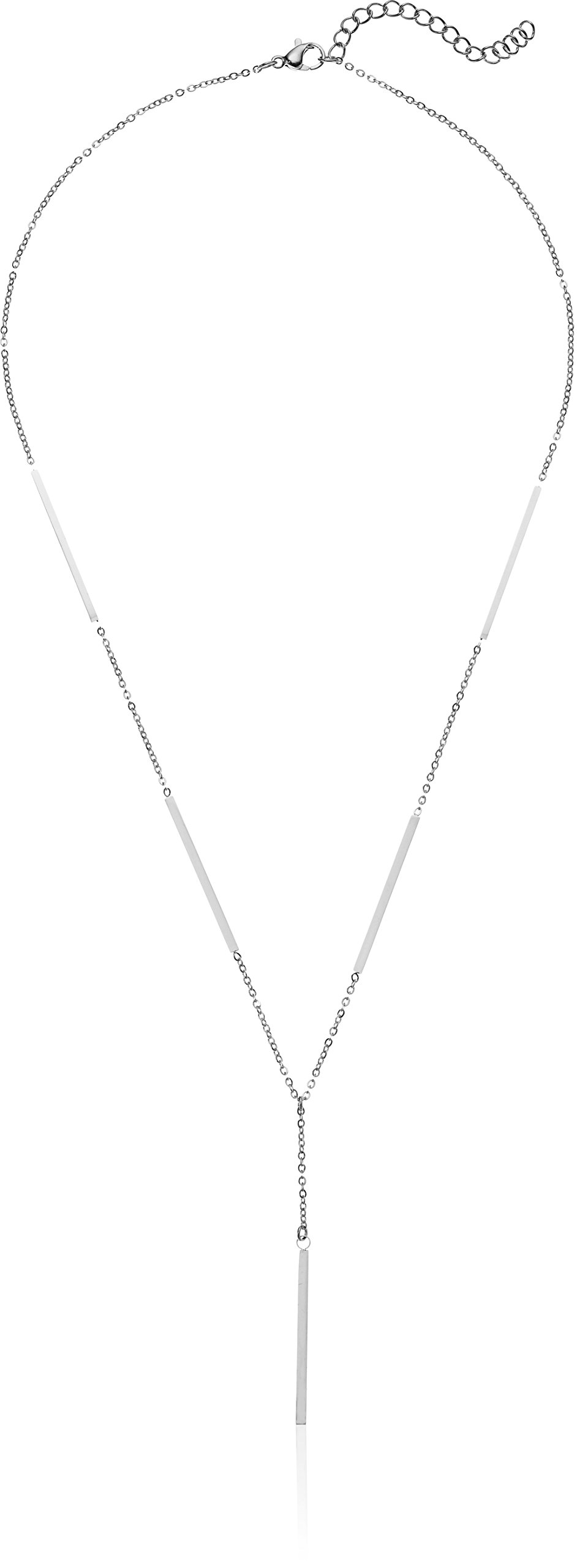 ELYA Jewelry Womens Polished Bar Stainless Steel Y Shaped Necklace, White, One Size