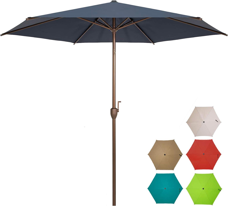Ogrmar 9 FT Patio Umbrella Outdoor Table Umbrella with Push Button Tilt and Crankfor Terrace, Backyard, Garden, Courtyard, Swimming Pool, Lawn (Navy Blue)