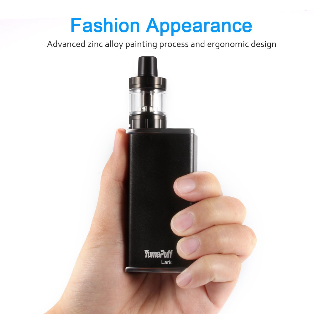 Cigarrillo Electrónico, YumaPuff 80W Lark Starter Kit, Construido en 2600mAh Batería, Pantalla OLED, Función de Relleno a Tope Atomizer 1.8ohm/0.6ohm, 2ml, ...