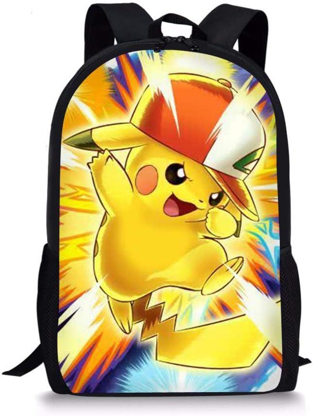 Woisttop Anime Pokemon Mochila para niños, Estilo Vintage, para niños, con Estampado de Animales, para Viajes al Aire Libre, para niñas y niños, con Estampado de Bulbasaur Pikachu-5 44x28x13cm