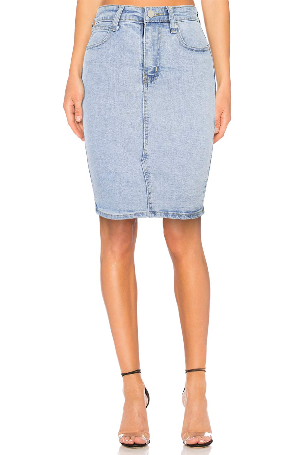 5116874f6346 High Waisted Jeans Skirts for Women Midi Knee Length Stretch Denim Pencil  ...