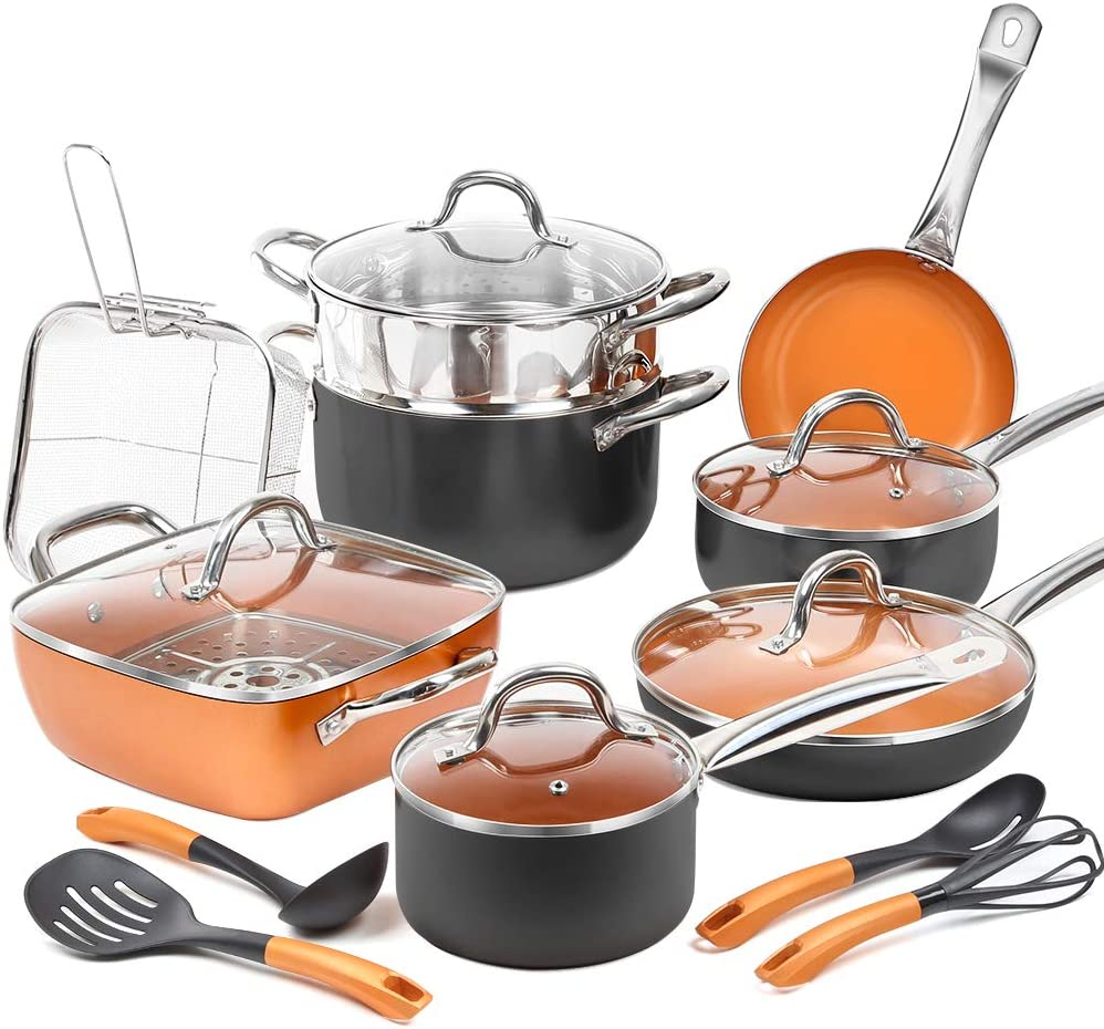 SHINEURI 19-Piece Copper Nonstick Cookware Set and Frying Pan Set & Deep Square Pan 5 Pieces Cookware Set Cooking Utensil - Dishwasher & Oven Safe, PFOA / PTFE Free (19 Piece - Blkopper)