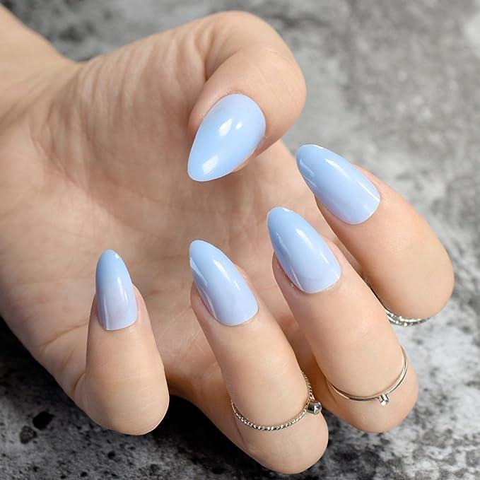 EchiQ Stilettos - uñas postizas afiladas, color azul claro ...