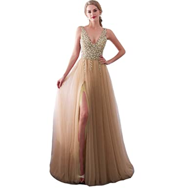 HAOKEDA Illusion Top Heavy Beaded Front Slit Long Tulle Prom Evening Dress  Champagne 2 906b79c8d