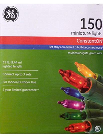 ge constant on 150 miniature multi color christmas lights with green wire