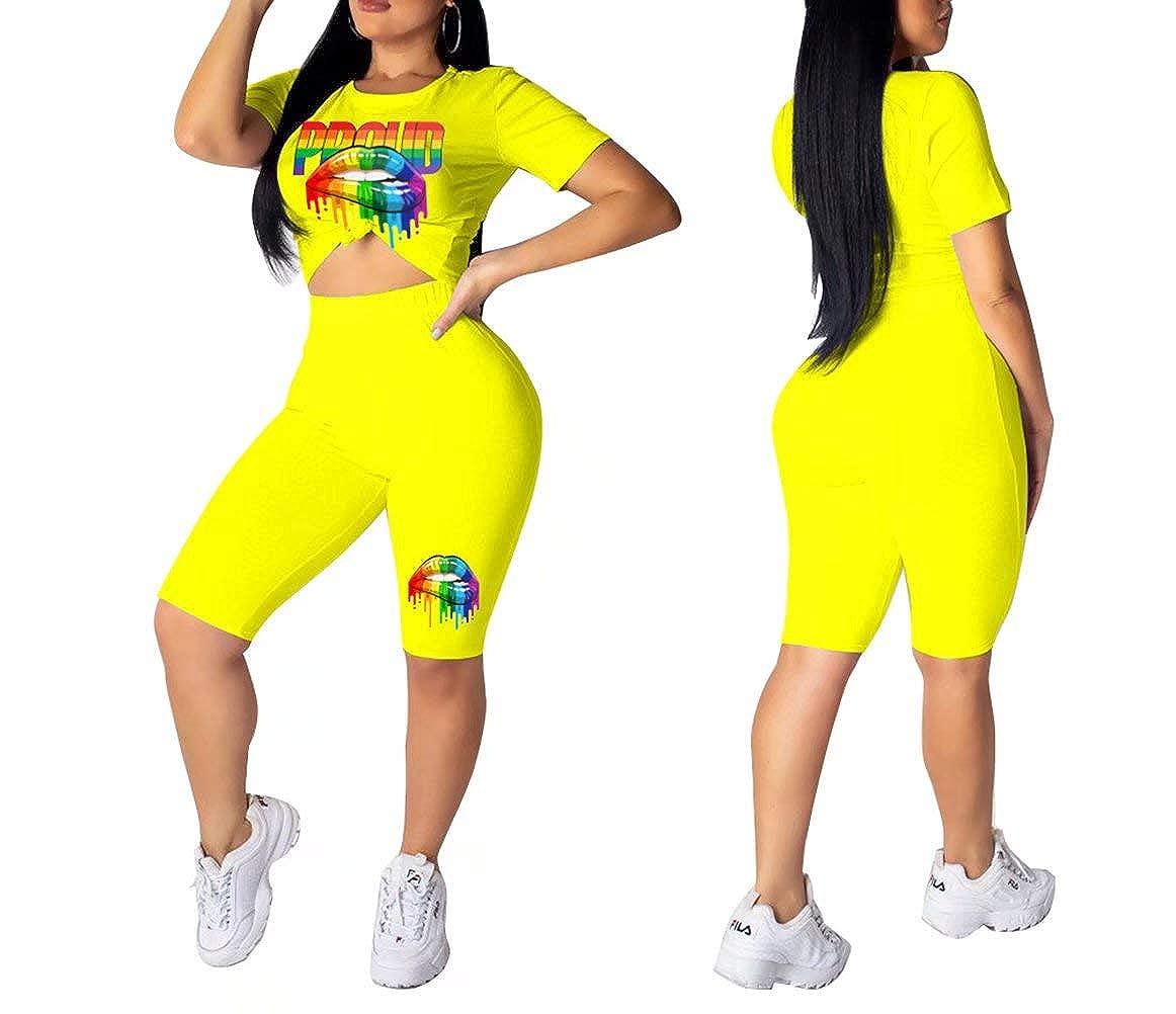 Women Two Piece Outfits Short Sleeve Lip Print Shirt and High Waist Leggings Tracksuit Set Summer Beach Club Wear