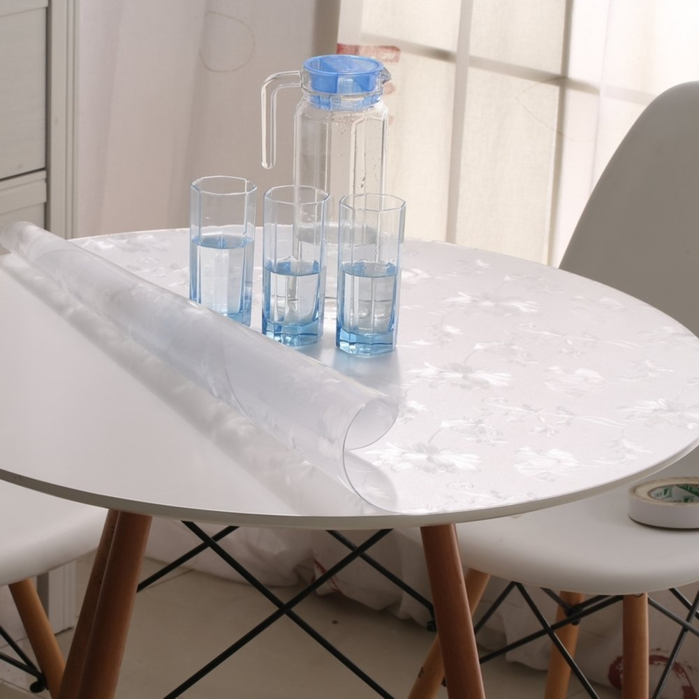 Amazon.com: Round Tablecloth/PVC[Round Table Cloth Waterproof]/Soft Proof  Glass Table Mat/ Clear Frosted Plastic Table Cloth And Waterproof Circular  Table ...