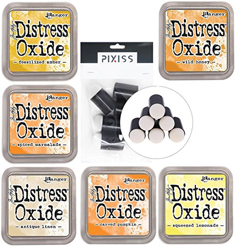 Ranger Distress Oxide Ink Pad 6 Color Bundle Spiced Marmalade, Squeezed Lemonade, Wild Honey, Carved Pumpkin, Fossilized Amber, Antique Linen with 6 Pixiss Daubers by GrandProducts