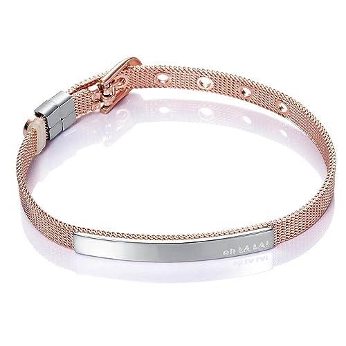 disfruta de precio barato compra original Últimas tendencias Pulsera Viceroy modelo 75003P09019 de acero color rosa y malla milanesa con  placa