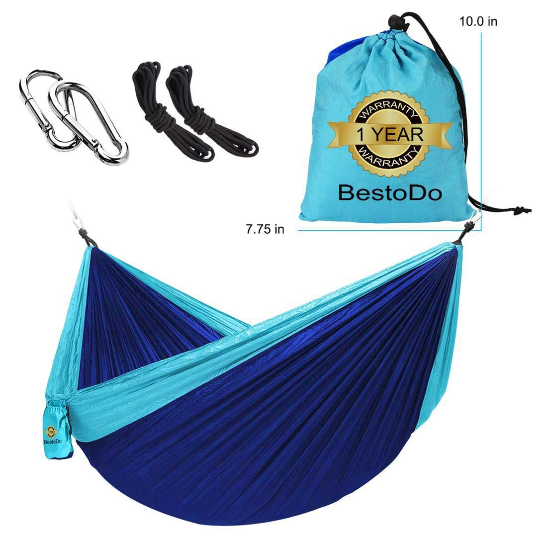 Hammock for Camping-Garden Nylon Hammock,Ultra-Lightweight & Portable Parachute Hammock,Single & Double Camping Hammocks Swing Bed 118'' x 78'' for Outdoor Backpacking, Hiking, Yard, Traveling