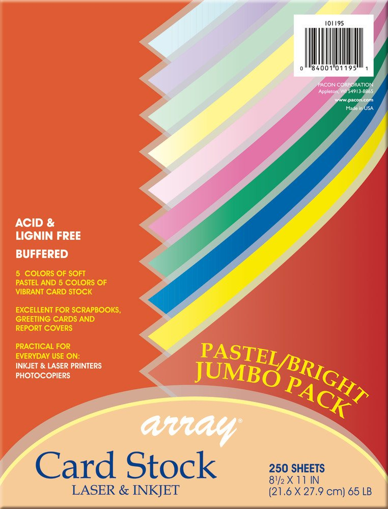 Pacon Card Stock, Pastel and Bright Jumbo Assortment, 10 Colors, 8-1/2'' x 11'', 250 Sheets
