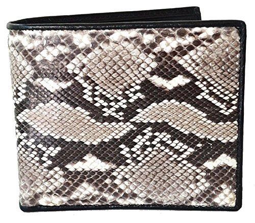 Lupadu Authentic Snake Skin Men's Bifold Python Snake Natural Beige&White Wallet