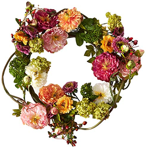(Nearly Natural 24in. Peony Wreath 24 inches round Mixed)