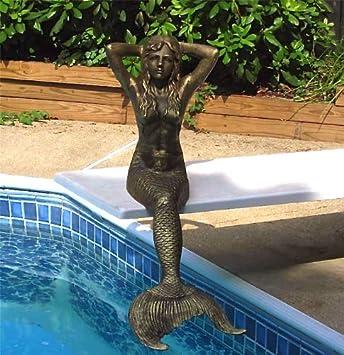 48u0026quot; Sitting Sunning Mermaid Statue Iron Antique Gold Finish