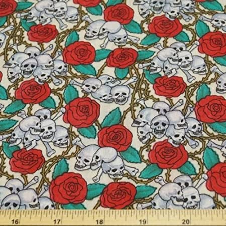 Fat Quarter Skulls and Red Roses Gothic Cotton Quilting Sewing Fabric
