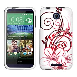 HTC Desire 510 Case, Snap On Cover by Trek Sketch of a Flower Red on White Case