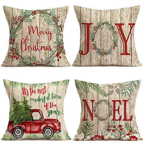 Qinqingo Retro Flower Wreath & Wood Grain Background Merry Christmas Quote Pillow Covers 18 X 18 Cotton Linen Throw Pillowcase Xmas Red Car Tree Cushion Cover Home Office Decorative Set of 4 (BOG09) (Qoutes Christmas Best)