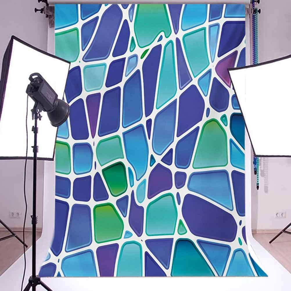 Fractal 10x12 FT Photo Backdrops,Ceramic Mosaic Style Forms Trippy Abstract Vivid Figures Display Background for Kid Baby Boy Girl Artistic Portrait Photo Shoot Studio Props Video Drape Vinyl
