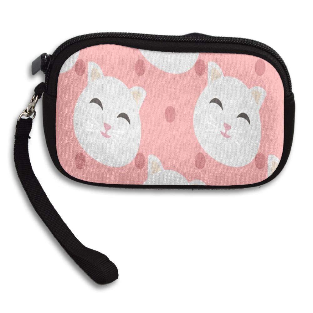 Cute Cat Head Custom Zip Handbag Coin Purse Change Cash Wallet