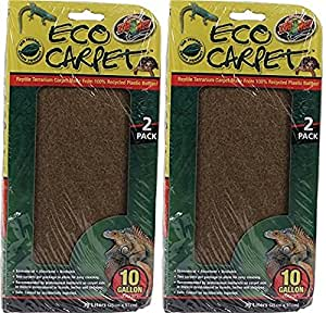 (2 Pack) Zoo Med Reptile Cage Carpet for 10 Gallon Tanks, 20 x 10-Inches (2 ct. Per Pack)