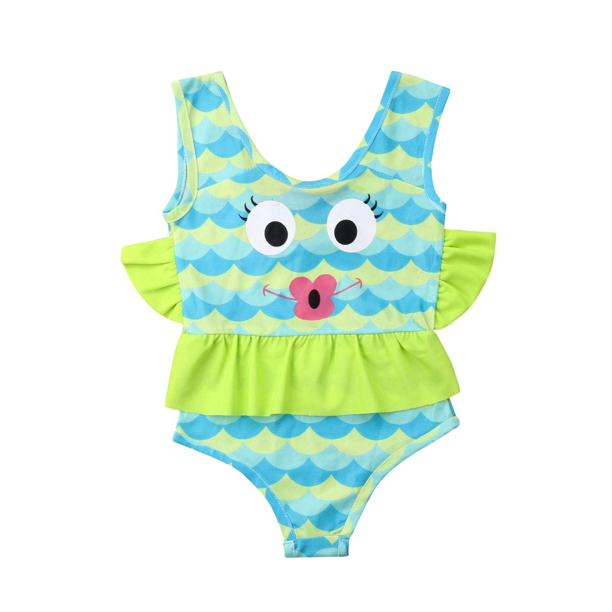 ff8e908c2aa3e Sejardin Baby Girls One Piece Swimsuits Cute Fish Scale Printed Bathing  Suit Ruffle Beach Wear Light Blue: Amazon.ca: Clothing & Accessories