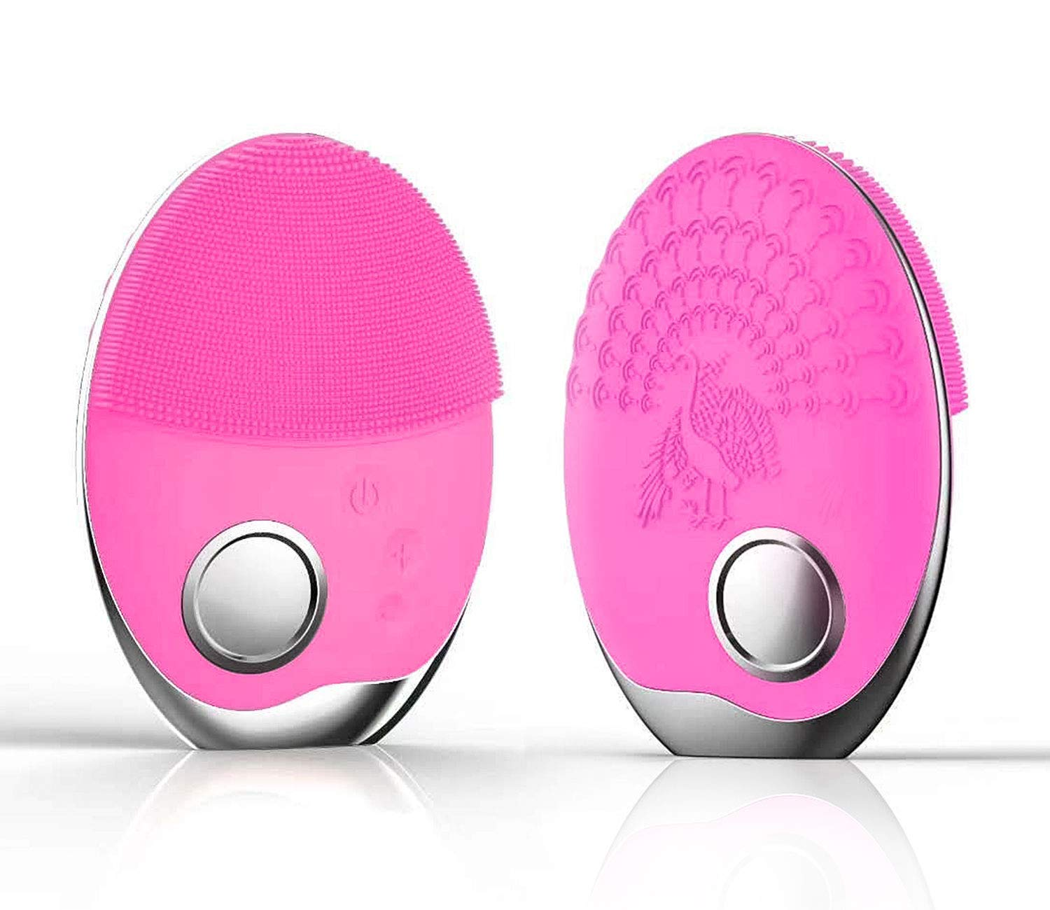 Facial Cleansing Brush, Sonic Waterproof Face Brush Silicone Phototherapy Skin Cleansing Brush with Wireless Charging for Deep Cleansing, Exfoliating, Removing Blackhead Face Massager Pink