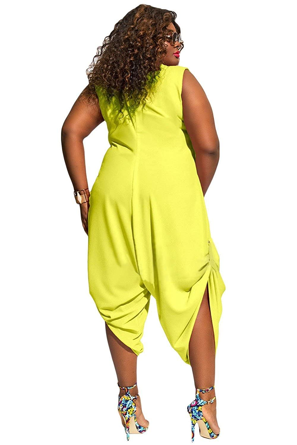 9695ee56a7a3 Amazon.com  Inorin Womens Plus Size Summer Wide Leg Harem Jumpsuits Casual  One Piece Romper Outfits  Clothing