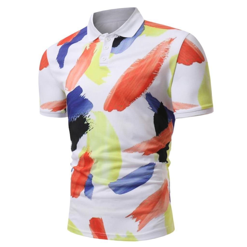 Longra Poloshirt Herren Sommer Polo Shirt Party T-Shirt Print-Shirts Mauml;nner Hemden Cotton Polohemd Kurzarmhemd Freizeithemden Knopf Slim Fit T-Shirt  M|Multicolor