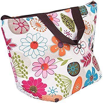 DOOPOOTOO Waterproof Picnic Insulated Fashion Lunch Cooler Tote Bag Travel Zipper Organizer Box,A70-Flower