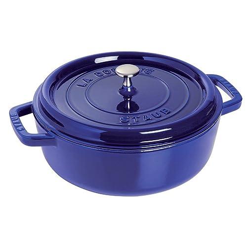 Staub Cast Iron Shallow Wide Round Cocotte - Dark Blue - 6 QT