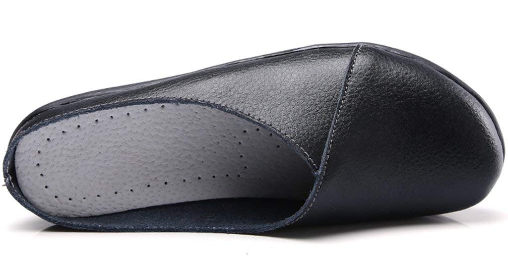 SNIDEL Women's Leather Loafers Slip on Flats Mule Walking Slippers Closed Toe Slide Sandals for Autumn Black9 B (M) US by SNIDEL (Image #2)