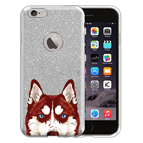 Apple iPhone 6 4.7 inch Hybrid Case, FINCIBO Shiny Sparkling Silver Bling Glitter TPU Hybrid Silicone Protector Cover Case for Apple iPhone 6 4.7 inch, Red Siberian Husky (Huskies Cell Phone Case)