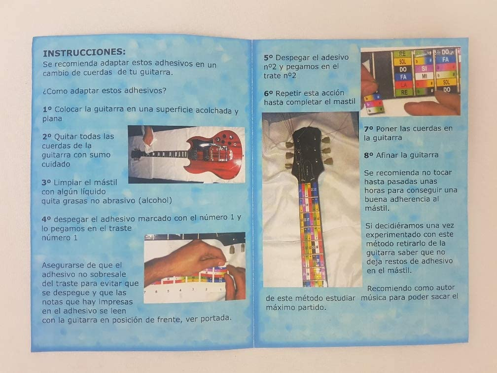 Tabla de pegatinas de colores para diapasón de guitarra, con ...