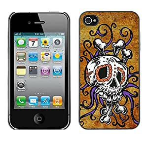 GOODTHINGS Funda Imagen Diseño Carcasa Tapa Trasera Negro Cover Skin Case para Apple Iphone 4 / 4S - cráneo pulpo oro floral púrpura