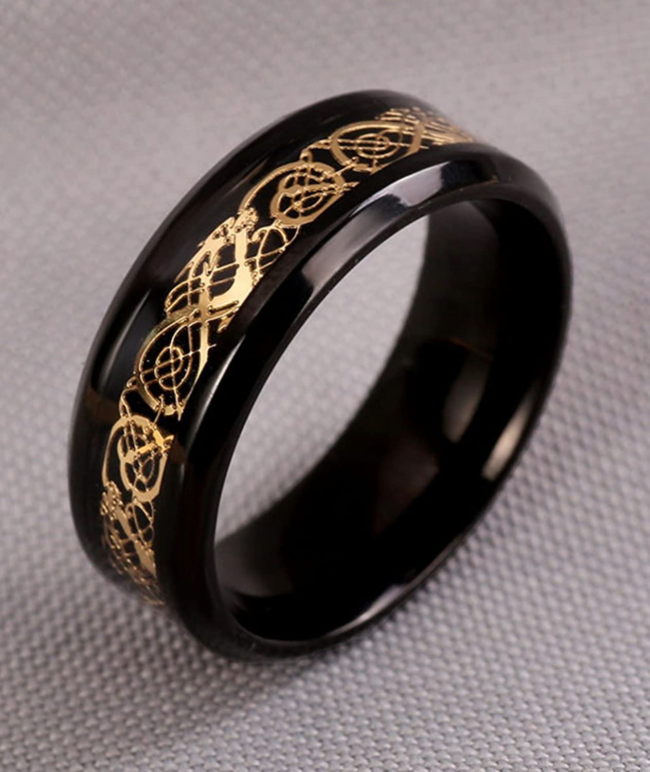Tanyoyo Black Gold Celtic Dragon Stainless Steel Ring Wedding Band Jewelry Size 7 14